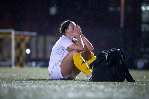 Jessica Frey (12) reacts to the 3-2 loss to IUPUI in the final game of her senior season in the Semi-Final game of the Horizon League Women's Soccer Tournament in Milwaukee, Wisconsin.