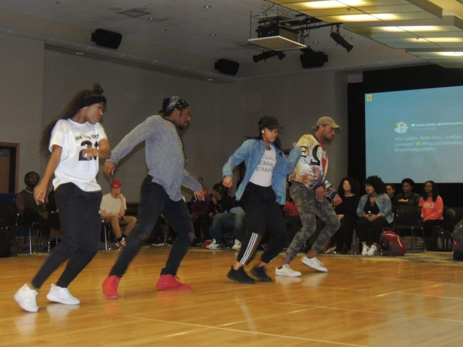 APB encouraged attendees to support the dancers with the #FeeltheBeatNKU tag on Twitter.