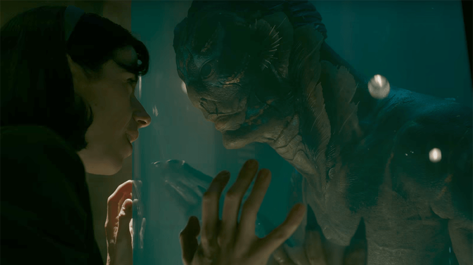 Elisa Esposito (Sallie Hawkins) and the Amphibious Man (Doug Jones) meet for the first time.