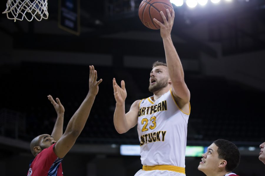 Carson Williams (23) goes up for a shot in the game against Detroit.