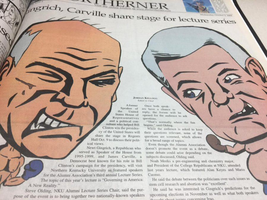 Flashback to 2002: Kellogg's coverage of the Carville/Gingrich debate on The Northerner's front page.