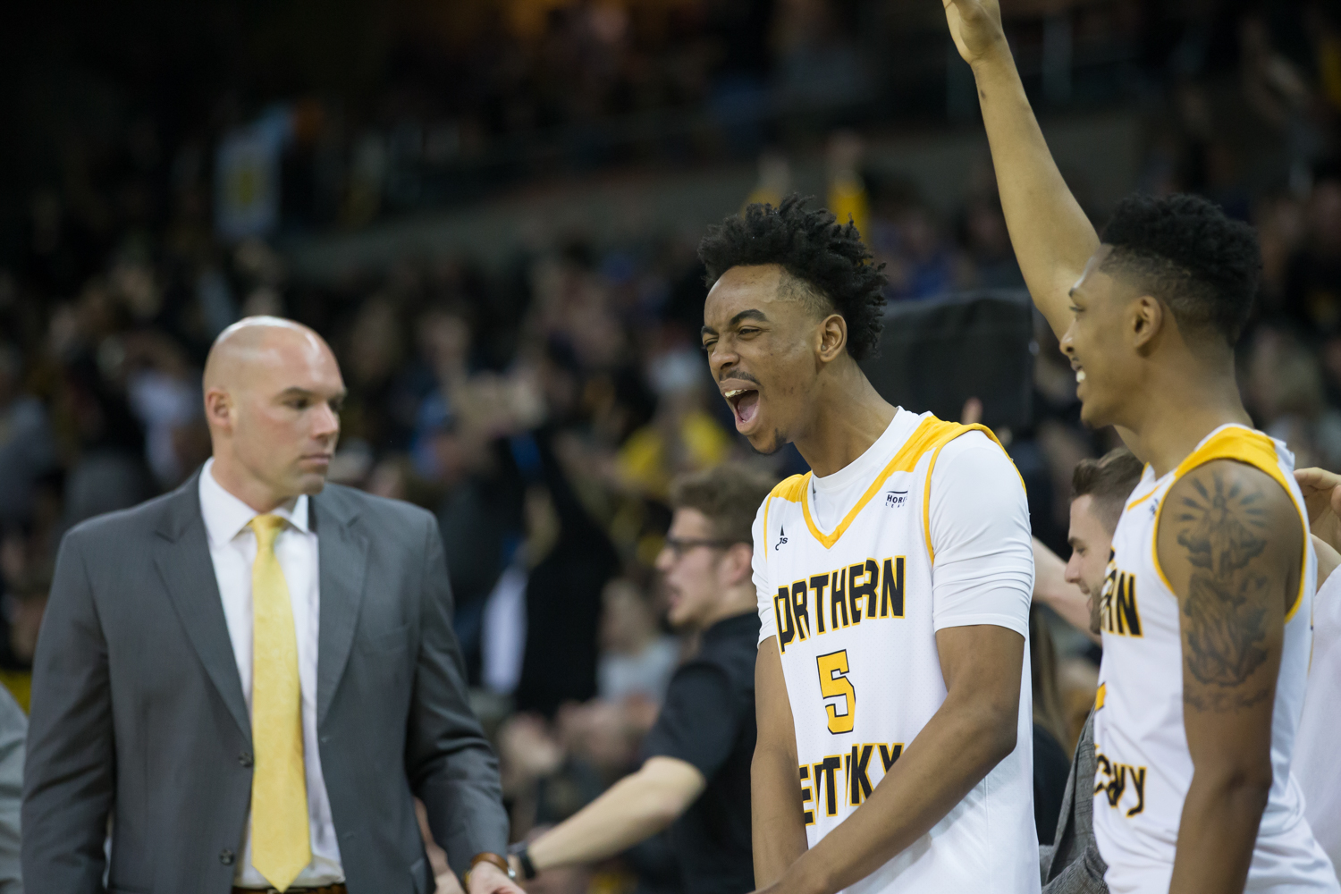 Jalen Tate (5) celebrates a basket by the Norse during the game against Green Bay.