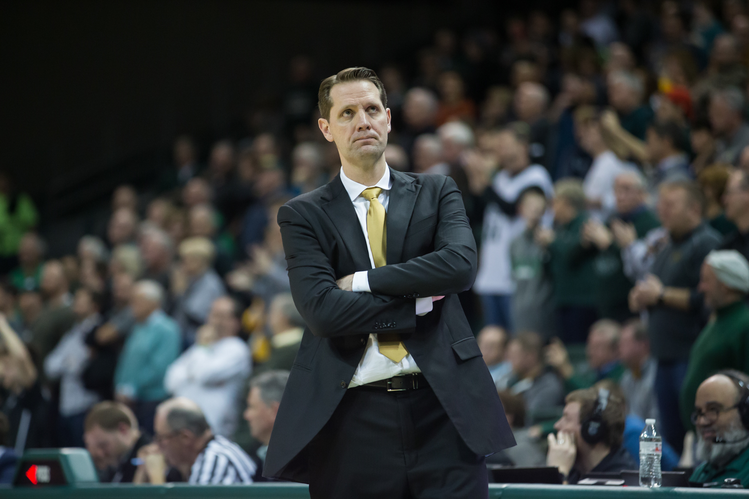 Head+Coach+John+Brannen+looks+on+as+the+Norse+fall+to+the+Raiders.