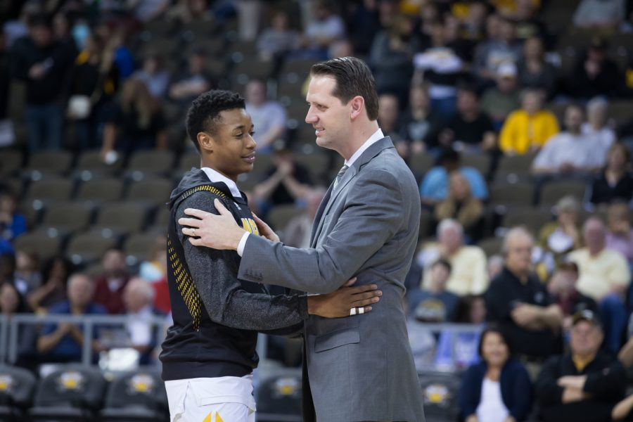 Lavone Holland II (30) shakes hands with Head Coach John Brannen on senior night before the game against Youngstown State.