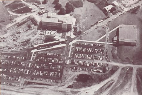An aerial view of campus in 1971.