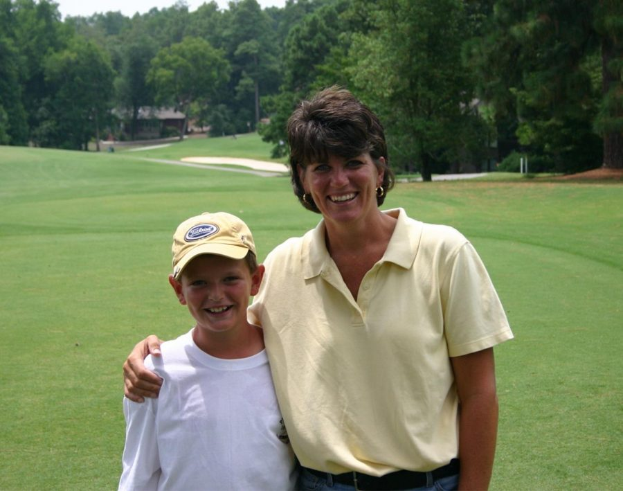 Drew and Christie on the golf course. Drew was also an accomplished high school golfer