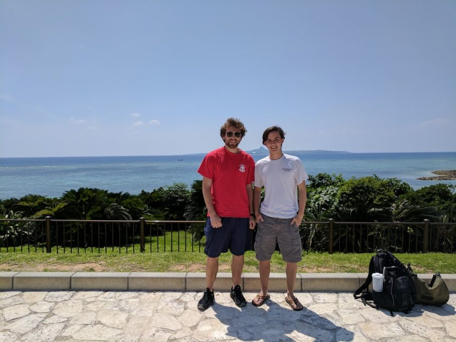 Austin Mayfield (right) with friend and fellow study abroad student, Dan Bonnes, outside Okinawa Churaumi Aquarium in Japan.