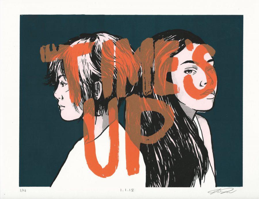 Times Up, a screenprint by Jenna Turner.