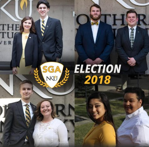 Four sets of candidates pitched their platforms to the student body on March 22. (Top L to R) Hannah Edelen and Matt Frey, Caleb Tiller and Taylor Gagne. (Below L to R) Derek Holden and Samantha Marcum, Jachelle Sologuren and Alex Voland.