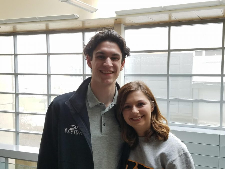 Matt Frey and Hannah Edelen at the SGA election results announcement in the Student Union March 30.