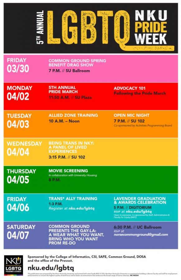 Pride Week schedule.