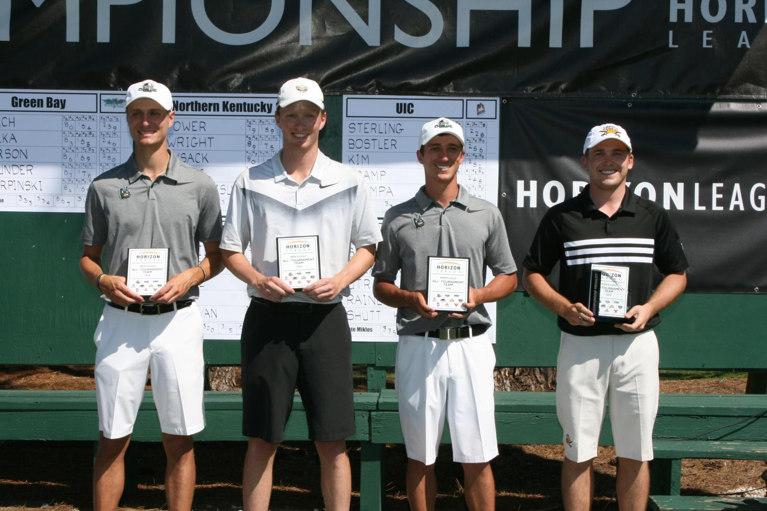 Jacob Poore stands with his fellow competitors at the end of the Horizon League golf tournament