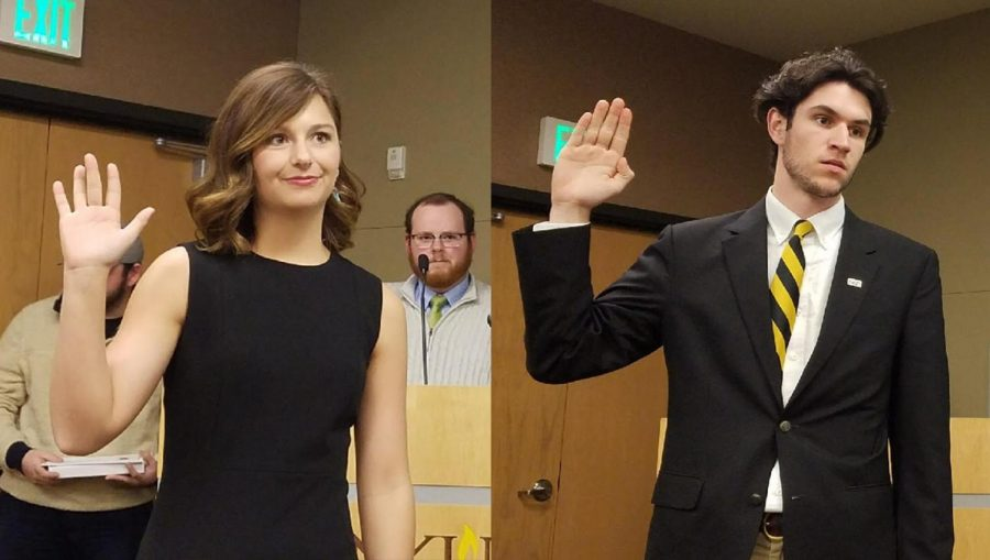 Hannah Edelen and Matt Frey are sworn-in as student body president and vice president on April 16.