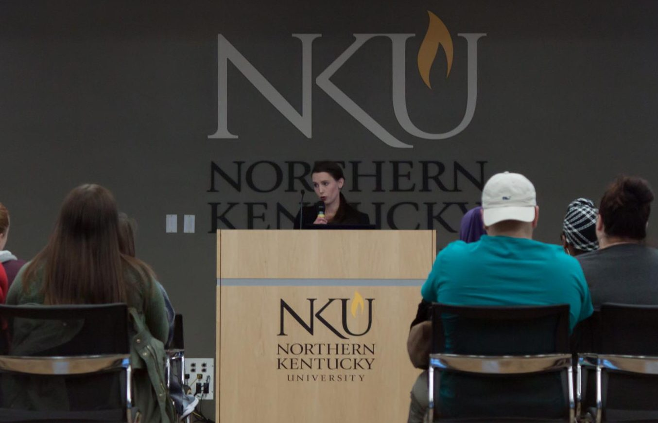 Denhollander visited campus Tuesday to speak as part of Take Back the Night.