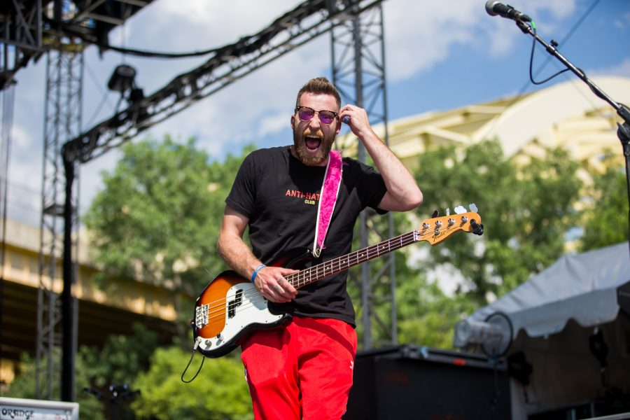 William Hehir of MisterWives screams during their performance at Bunbury Music Festival.