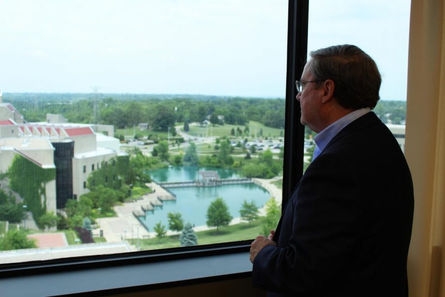 Interim President Gerard St. Amand, who served NKU for nearly 20 years as Chase dean and vice president of advancement,  steps down June 30, 2018.