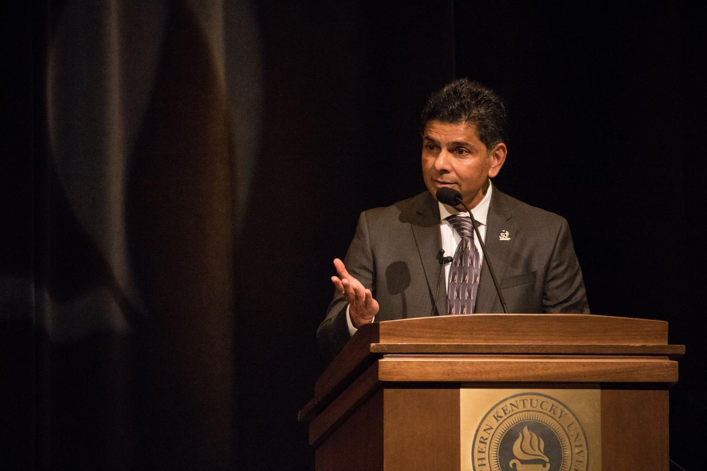 NKU's sixth president Dr. Ashish Vaidya addresses students, staff and alumni at Fall Convocation, Aug. 13, 2018.