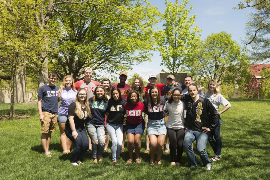 Students representing NKU's Greek organizations during the 2017-2018 academic year.