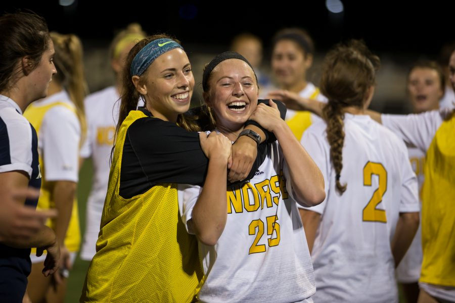Payton+Naylor+%2825%29+is+embraced+by+teammate+Emily+Soltes+%287%29+after+scoring+the+winning+goal+in+the+1-0+victory+over+Xavier.