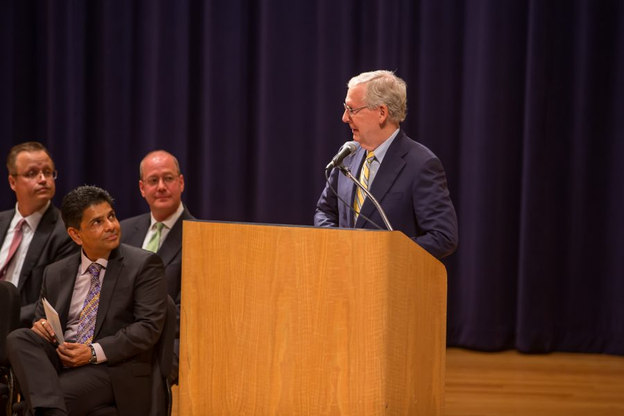 Senate Majority Leader Mitch McConnell (R-KY) speaks at Greaves Concert Hall, Aug. 27, 2018.