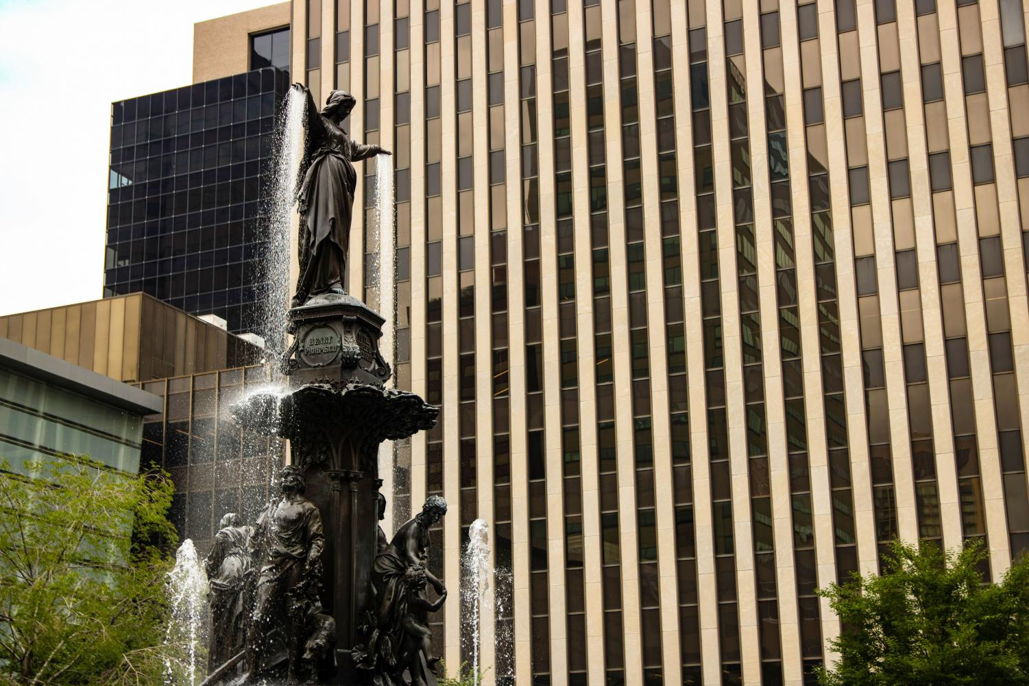 The Tyler Davidson fountain in front of the Fifth Third Center in Downtown Cincinnati.