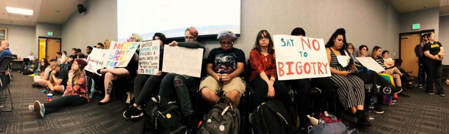 Students, campus LGBTQ group representatives protested a Student Government Association judicial appointment at SGA's Sept. 17 meeting.