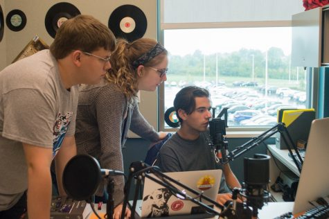 Assistant Manager Alex Gray, General Manager Emily Cay and DJ Nic Vitale record a show in Norse Code Radio's Griffin Hall studio.