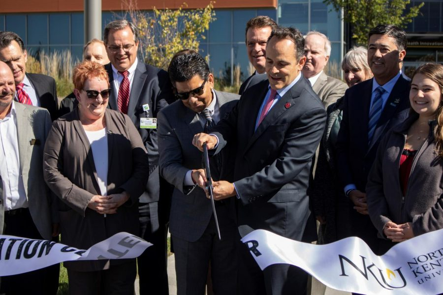 NKU Provost Sue Ott Rowlands, NKU President Ashish Vaidya, Governor Matt Bevin, NKU Board of Regents Chair Lee Scheben and NKU nursing student Cayla Destafani at the Health Innovation Center dedication Oct. 17, 2018.
