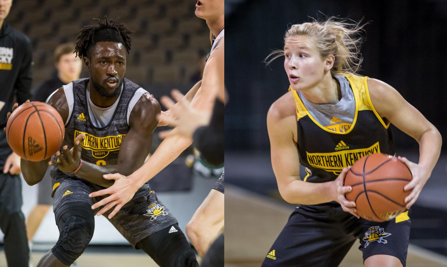 Left: Silas Adheke (0) looks to pass to a teammate during basketball media day. Right: Taryn Taugher (11) searches for a teammate during a drill during basketball media day.