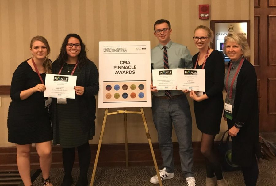 Managing Editor Nicole Browning, Social Media Editor Maria Dossett, Editor-in-Chief Sam Rosenstiel, News Editor Natalie Hamren and Northerner Adviser Michele Day receive Pinnacle Awards at the National College Media Convention, Oct. 26, 2018.