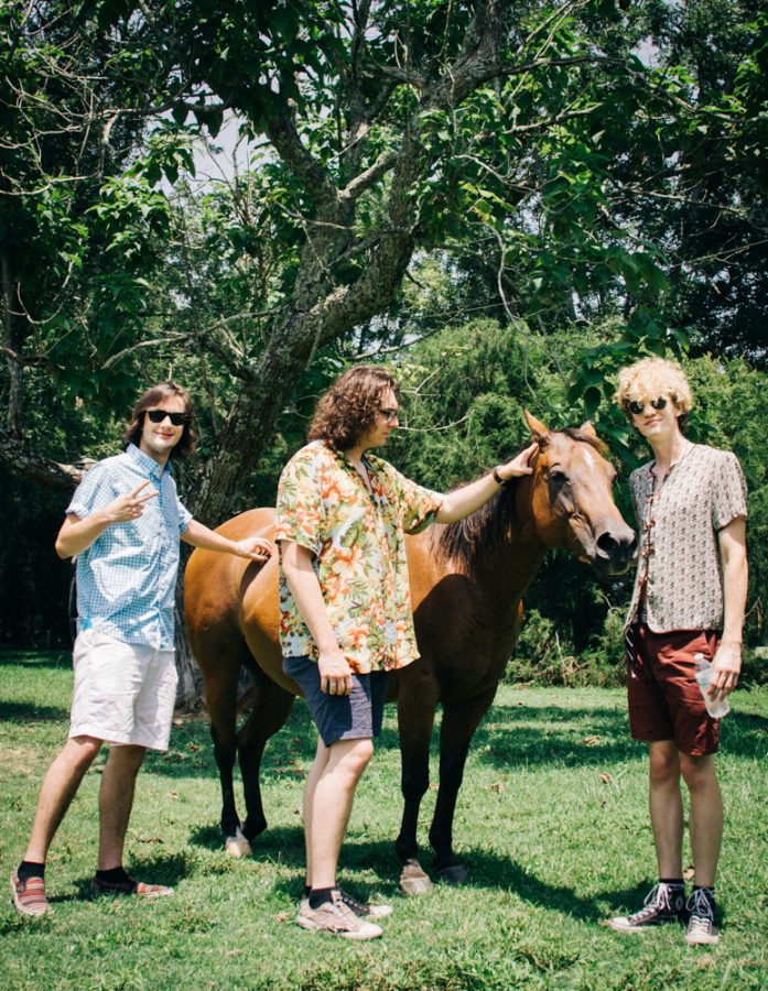 Trauma Illinois pose next to a horse. The band was named after a member was hospitalized after a car crash.