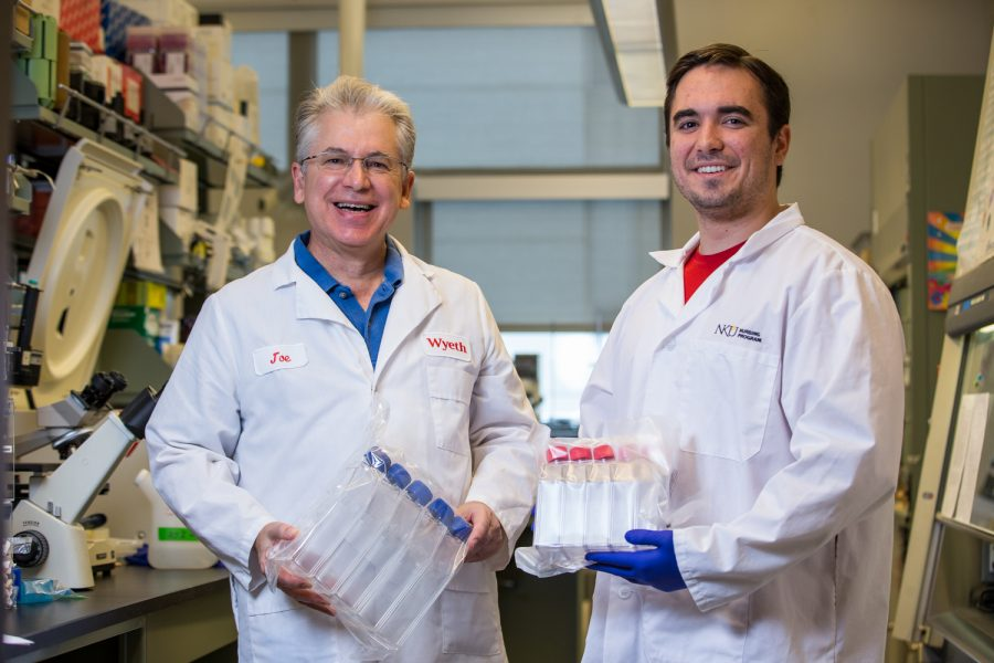 Dr. Joseph Mester and Brett Messmer working on the hepatitis C vaccine.