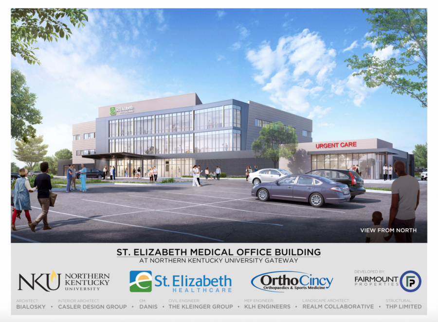 A rendering of the new St. Elizabeth Healthcare and OrthoCincy building at the entrance of NKUs main campus.