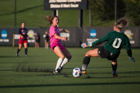 Shawna Zaken (8) shoots during the game against Detroit Mercy. She had one goal for the Norse during the game.