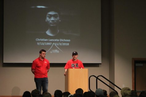 Theta Chi Fraternity President Ethan Poweleit (L) and Interfraternity Council President Isaac Dailey (R) spoke on the creation of the Christian