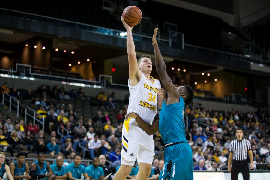 Drew McDonald (34) shoots during the game against Coastal Carolina. McDonald shot 8-of-12 from the field on the night.