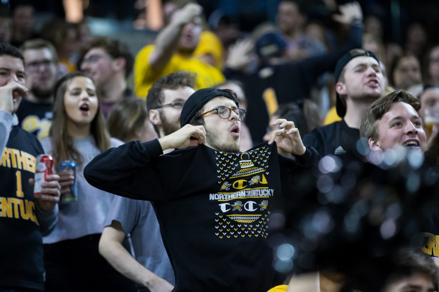 NKU fans react after a Norse Point. The Norse defeated UMBC 78-60
