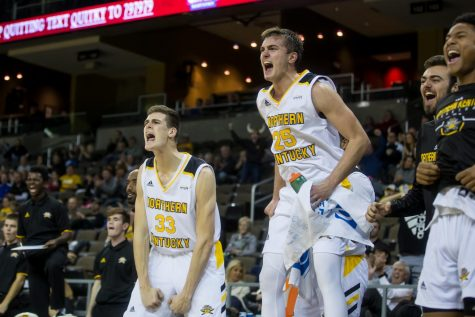 NKU Players Celebrate after a point during the game against UNC Asheville. The Norse won 77-50.