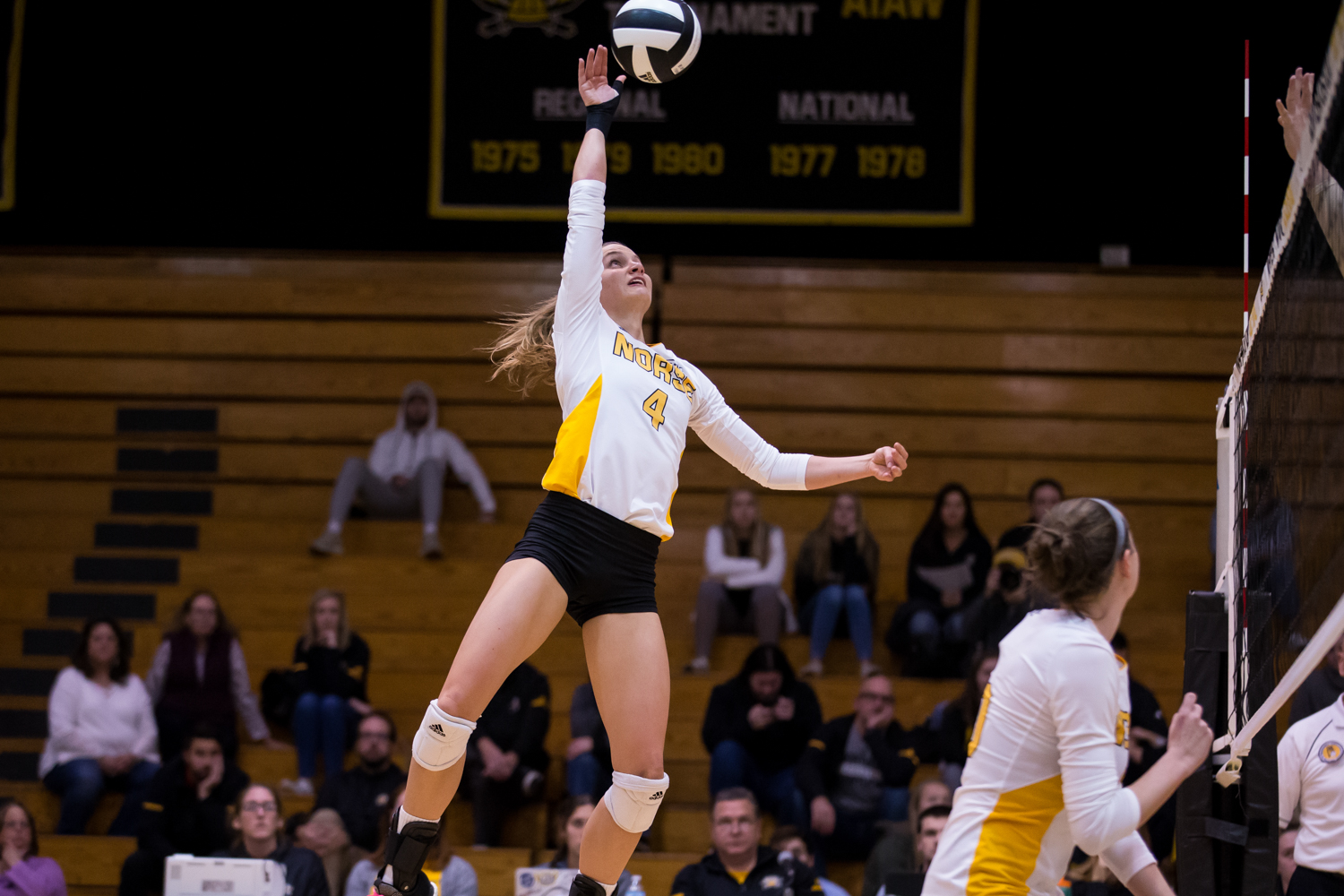 Haley Libs (4) jumps to hit a ball during the game against Oakland. Libs had 14 kills during the game.