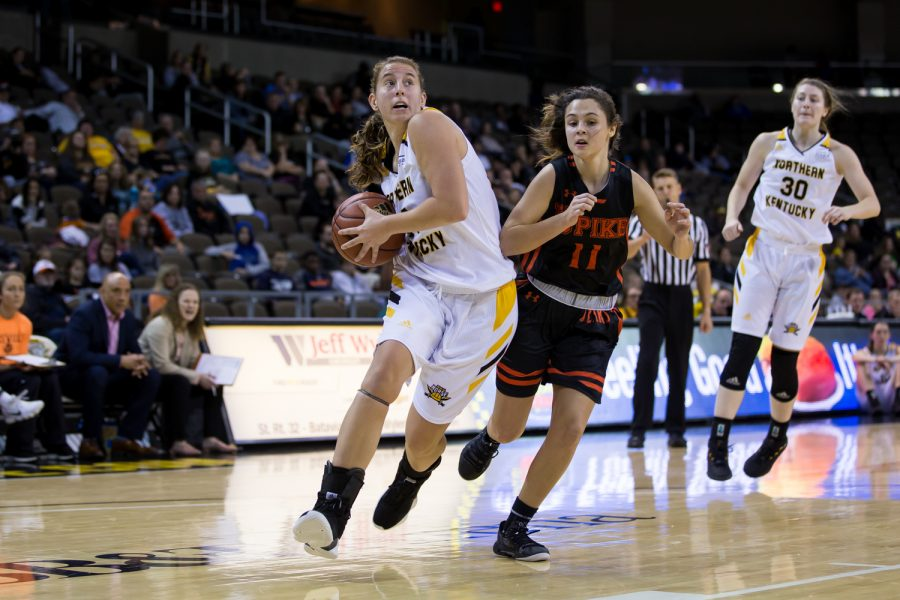 Molly Glick (24) drives toward the basket during the game against University of Pikeville.