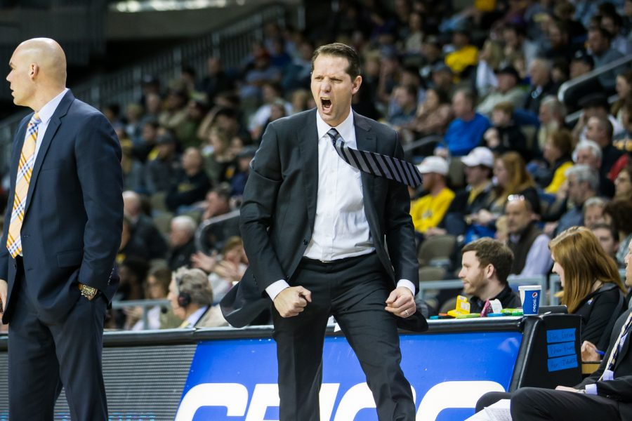 Men's Basketball Head Coach John Brannen reacts during the game against UIC. The Norse defeated UIC 73-58.