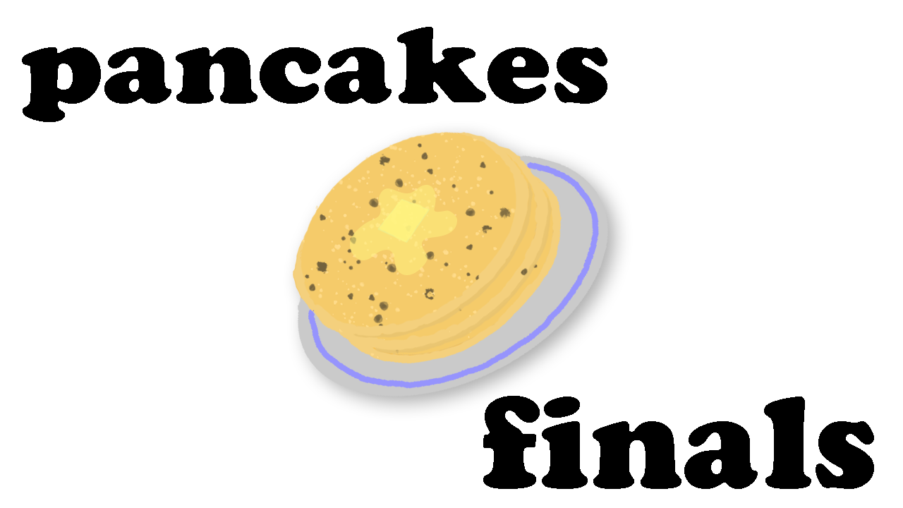 Find the buffet pancake bar at the Baptist Student Center from Monday to Wednesday this week.