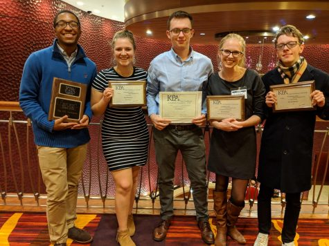 Northerner editors Josh Kelly, Nicole Browning, Sam Rosenstiel, Natalie Hamren and Kane Mitten at the Kentucky Press Association Conference and Awards, Jan. 25, 2019.