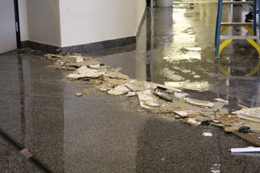 A pipe burst from the ceiling outside Greaves Concert Hall in NKU's Fine Arts building, Jan. 31, 2019.