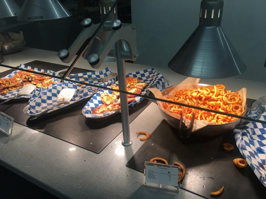 Onion rings and pizza sit under heating lamps.