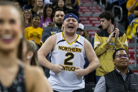 NKU students cheer after a Norse point during the game against Detroit Mercy. The Norse defeated Detroit 97-65.