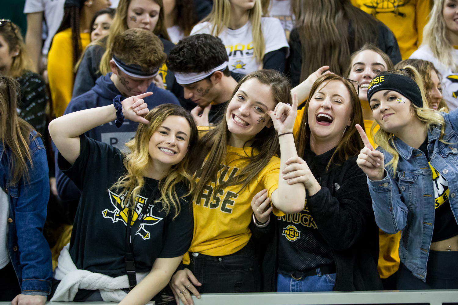 NKU fans pose during the homecoming game against Oakland. The Norse defeated Oakland 79-64.