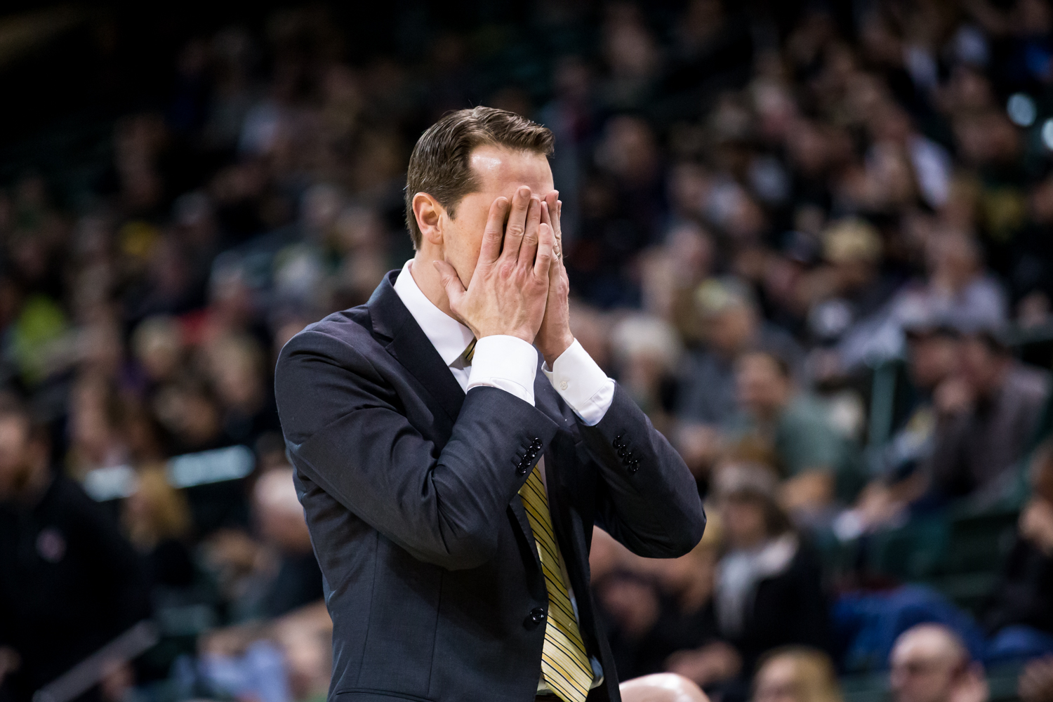 Men%27s+Basketball+Head+Coach+John+Brannen+reacts+during+the+game+against+Wright+State.+The+Norse+fell+to+Wright+State+81-77.