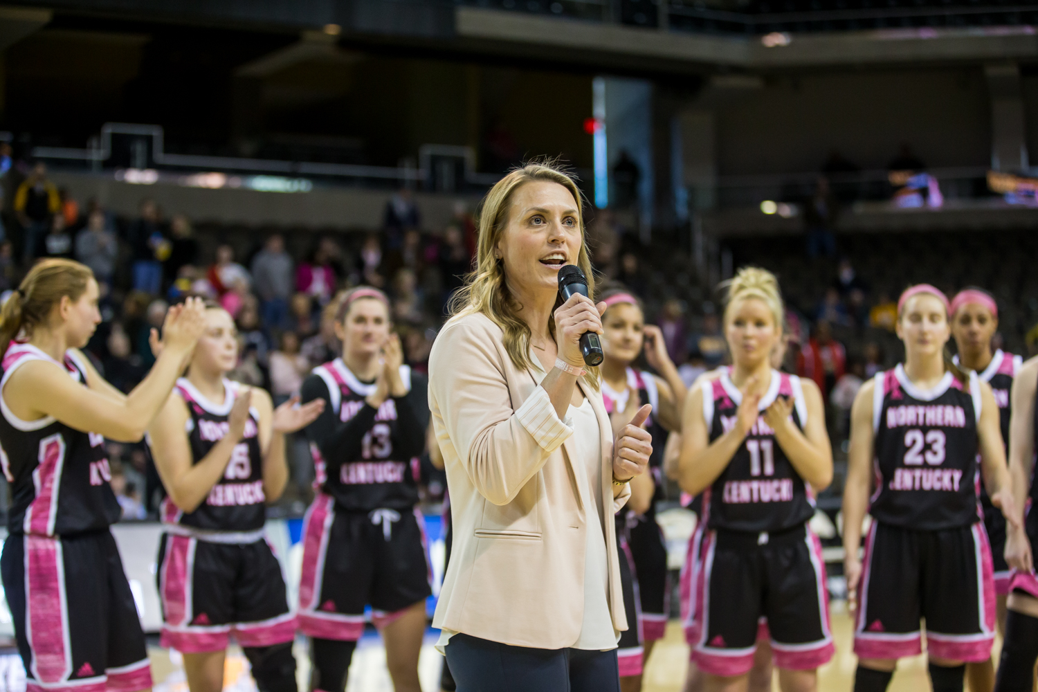 Head+Coach+Camryn+Whitaker+talks+to+fans+after+the+game+against+Cleveland+State.+She+thanked+fans+for+attending+and+for+their+support+all+season.