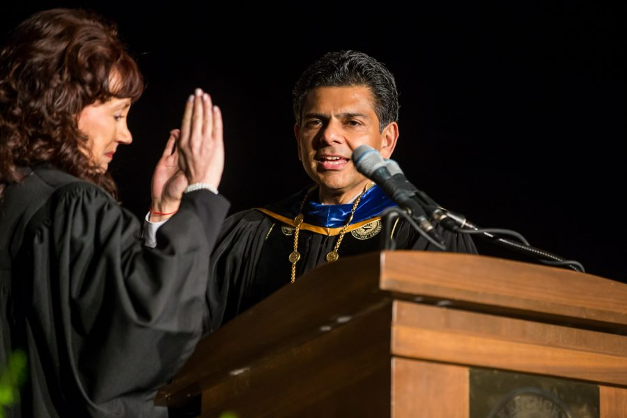 President Dr. Ashish Vaidya is sworn in as NKU's sixth president by Kentucky Supreme Court Justice Michelle Keller.